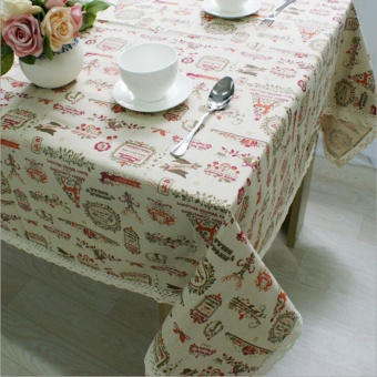 YingWei Christmas Theme Fashion Table Cloth with Lace Reindeer Print Multifunctional Tablecloths Table (60 x 60cm) - intl