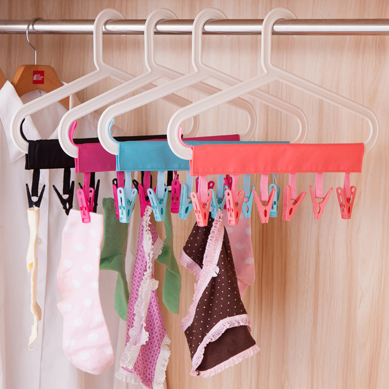 Yingwei Foldable Cloth Hanger Multifunction Clothespin Rose Red .