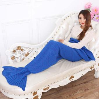 YingWei Mermaid Tail Blanket Crochet Mermaid Blanket for BabyInfant Kids Sofa Quilt Living Room Bedroom Camping Warm Soft AllSeasons Seatail Sleeping Bag Blanket Sleeping Throws 90 * 50cm(Dark Blue) - intl - 4