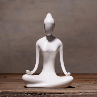 Yoga Girl Ceramic Sculpture Home Decor Creative Modern ArtFigurines - intl - 3