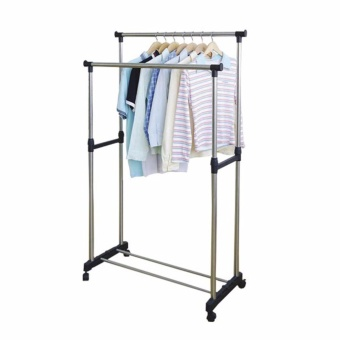 Zea Adjustable Double Pole Clothes Rack with Complete 13-Piece Knife Set - 2