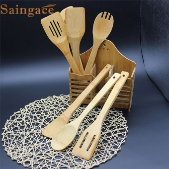 Zero 5 Piece Set Bamboo Utensil Kitchen Wooden Cooking Tools Spoon Spatula Mixing - intl