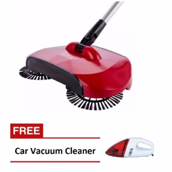 Zover Magic Stainless Steel Sweeping Machine Hand Push Type MagicBroom Sweeper Floor Dustpan Vacuum Cleaning Tool For Home with FREEPortable Car Vacuum Cleaner (Red)