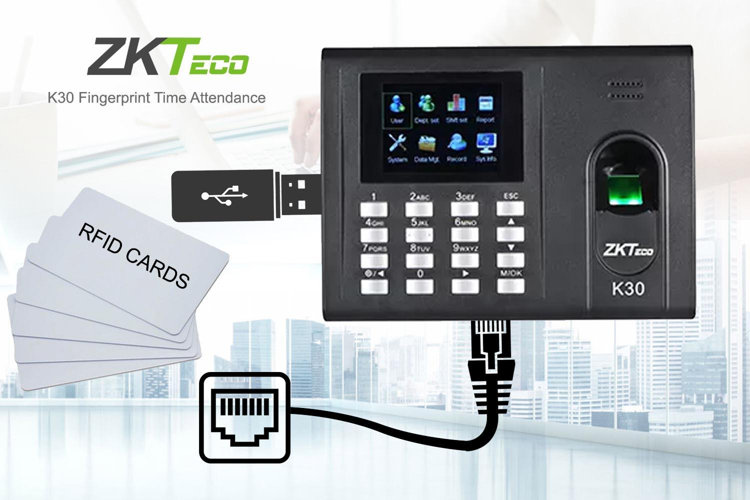 ZKTeco RFID Biometric Fingerprint Time Attendance USB and Network Time  Clock Recorder Employee Time in/out Reader K30