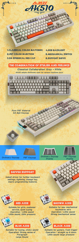 AJAZZ AK510 Cherry MX Retro Mechanical Keyboard (Red Switch )