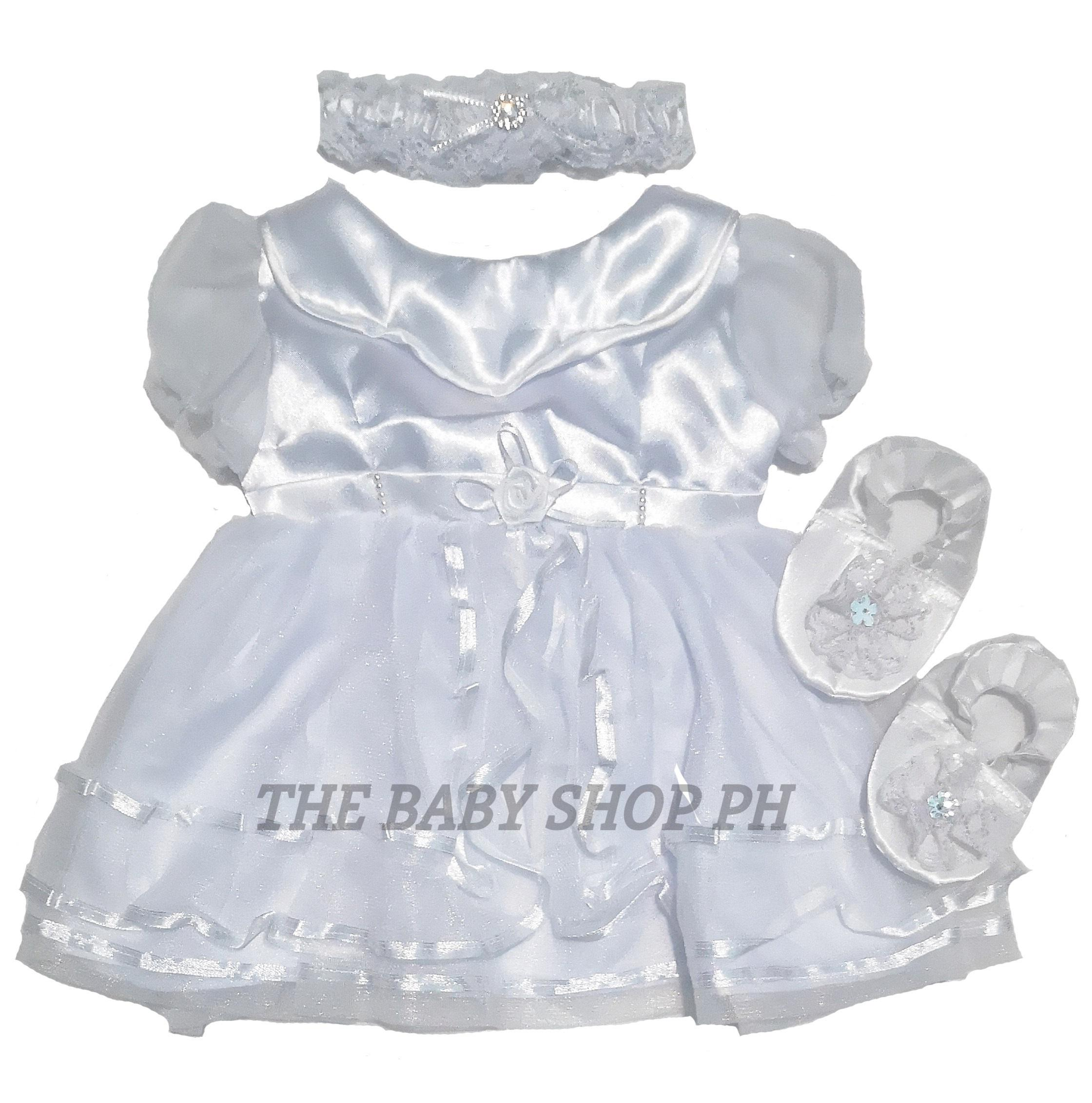 THE BABY SHOP PH Baptismal Christening Dress Snow White Style with Collar  and Puffed Sleeves For Baby Girl (White, Touch of Pink and Cream)