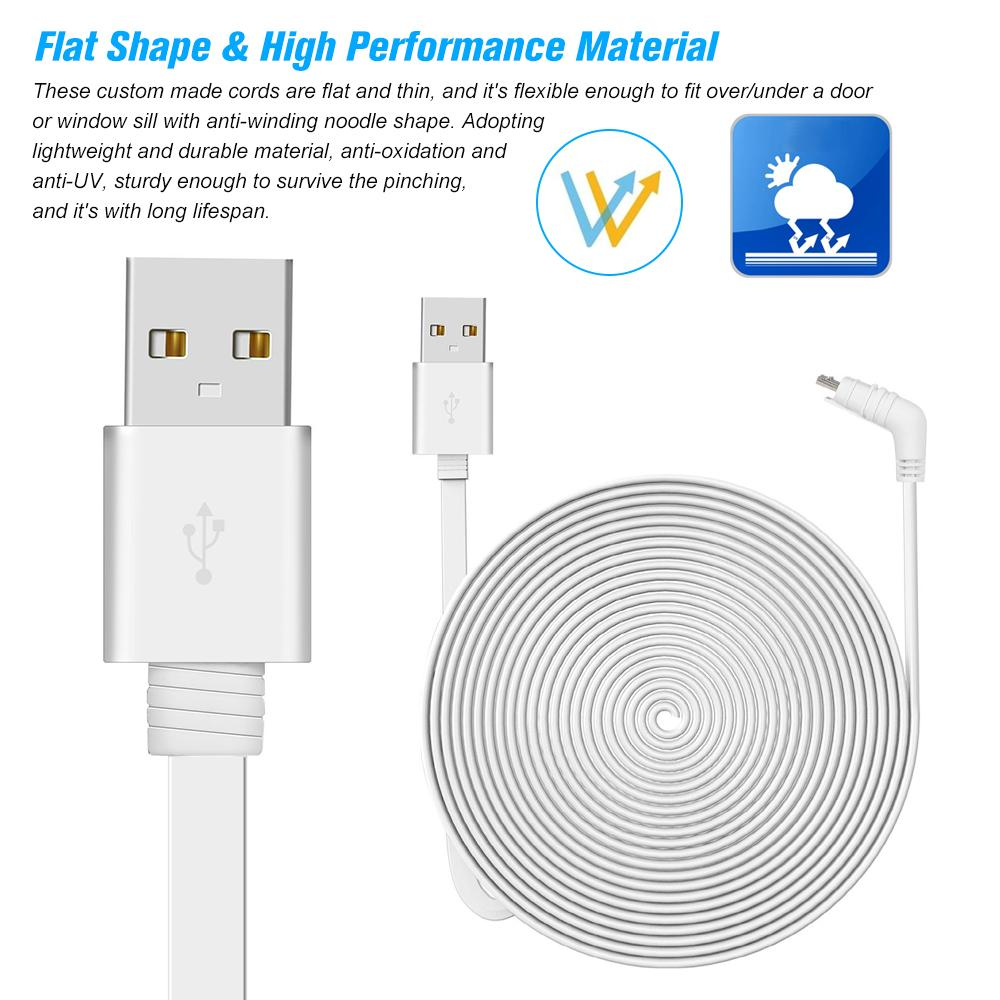 6M/20ft Charging Power Cable Fits for Arlo Pro, Arlo Pro 2, Arlo GO  Weatherproof Indoor/Outdoor Flat Cable Aluminium Alloy Micro USB Cable