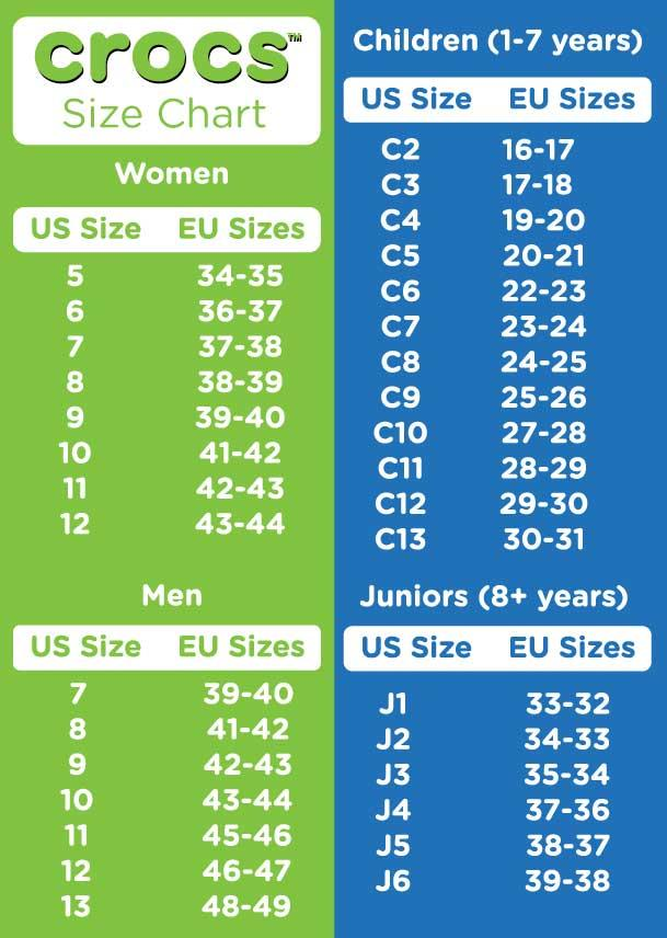 crocs infant sizes