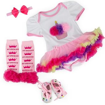 0-3M Princess Cupcake Baby Kids Girls Tutu Dress Set with ShoesLeggings and Headband Toddler Christening Bodysuit RomperPhotography Birthday Costume