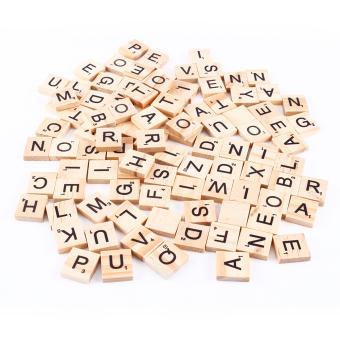 100 Wooden Alphabet Scrabble Black Letters & Numbers - intl