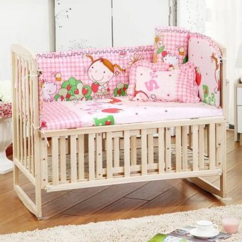 100x59CM 5Pcs baby crib bedding set newborn baby bed set cribbumper(my15) - intl