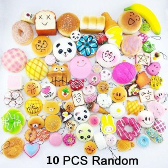 10Pcs Jumbo Medium Mini Random Squishy Panda/Bread/Cake/Buns/DonutPhone Straps Multicolor - intl