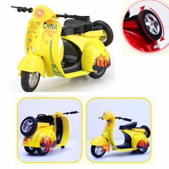 1:14 Scale Mini Diecast Vespa Scooter Motorcycles with Light&Sounds-Yellow - 5