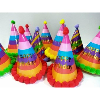 12 pcs Happy Birthday Party Hats with Pompoms