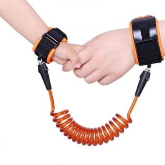 1.5m Baby Child Anti Lost Safety Velcro Wrist Link Traction Rope(Orange)