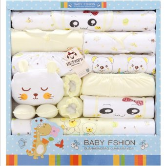 18pcs/set Newborn Babies Cotton Clothing Baby Boys Girls PrintSuits Toddlers Clothes + Accessories - intl