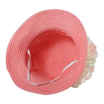 1Pc Baby Girls Hat Summer Flower Beach Outdoor Sun Hats Straw CapFor 2-7 years Kids (#1 Pink) - intl - 2