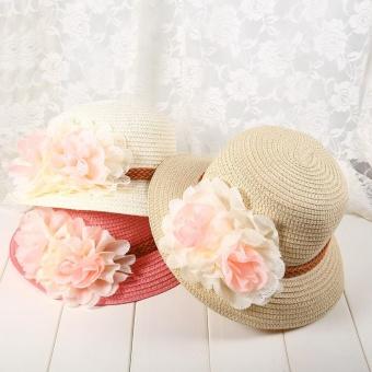 1Pc Baby Girls Hat Summer Flower Beach Outdoor Sun Hats Straw CapFor 2-7 years Kids (#1 Pink) - intl - 5