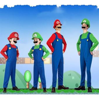 (1Set Adult Size L 175-185CM-Red)Funy Cosplay Party Dress Up Super Mario Adult Halloween Costumes for Men Women - intl - 3