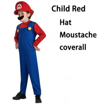 (1Set Kids Size L 125-135CM-Red)Children Funy Cosplay Party Dress Up Super Mario Halloween Costumes for Boys Girls - intl