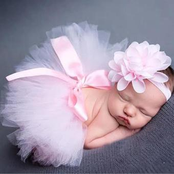 2 PCS/Set Newborn Tulle Baby Girls Tutu Skirt+ Head FlowerPhotography Custome Props Sets Baby Puff Skirt -intl