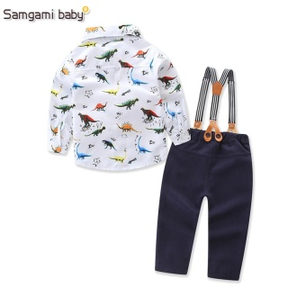 2017 New Baby Boys Spring Gentleman Printed Clothing sets SuitNewborn kids Bow Tie Shirt + Suspender Trousers formal party - intl - 2