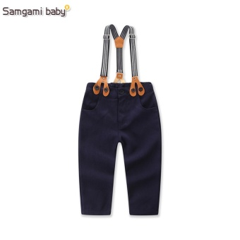 2017 New Baby Boys Spring Gentleman Printed Clothing sets SuitNewborn kids Bow Tie Shirt + Suspender Trousers formal party - intl - 4