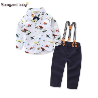 2017 New Baby Boys Spring Gentleman Printed Clothing sets SuitNewborn kids Bow Tie Shirt + Suspender Trousers formal party - intl