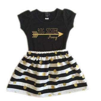 2017 summer fashion kids clothes sets T-shirt + striped skirt 2pcs children cool wearing girls clothing sets for 2-6Y - intl