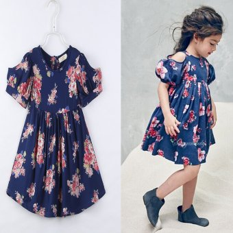 2017 summer fashion style baby girl clothing short sleeves Dewshoulder Floral print girls kids dress For 2-7Y clothing Dresses -intl