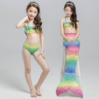 2017 Summer Girl Kids Mermaid Tail Swimwear Children Bikini BathingSuit Swimsuit Beach Wear (Pink) - intl - 3
