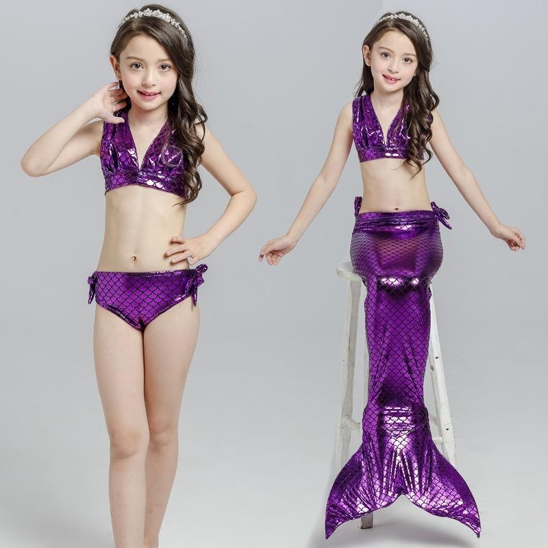 ... 2017 Summer Girl Kids Mermaid Tail Swimwear Children Bikini BathingSuit Swimsuit Beach Wear (Purple) ...