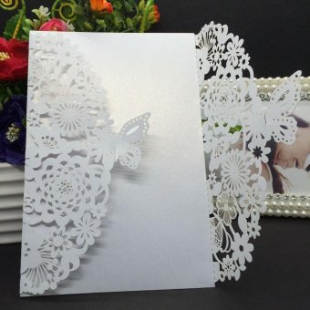 20Pcs Romantic Carved Flower Pattern Invitation Card Exquisite Hollow Out Cards Wedding Favor Party Supplies Decoration (White) - intl - 2