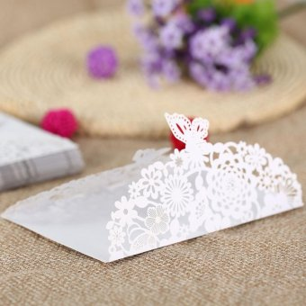 20Pcs Romantic Carved Flower Pattern Invitation Card Exquisite Hollow Out Cards Wedding Favor Party Supplies Decoration (White) - intl - 4