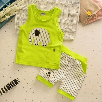 2pcs Kids Clothes Summer New Fashion Clothes Set Tank Top + StripedShorts Childrens Toddler Boy Clothing Set Baby Clothes for BoysBlue - intl - 2
