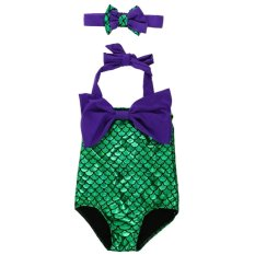 2pcs Little Girls Swimmable Mermaid Princess Bikini Swim Bathing Suit+headb - intl