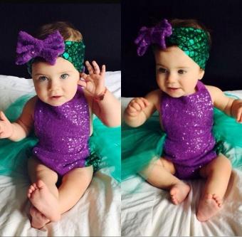 2PCS Sequin Baby Girls Mermaid Tulle Romper Bodysuit HeadbandSunsuit Outfits Clothes - intl - 2