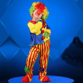 2PCS/Set Halloween Costumes Kids Funny Circus Clown Costume CosplayClothing Top+Pant (XL)