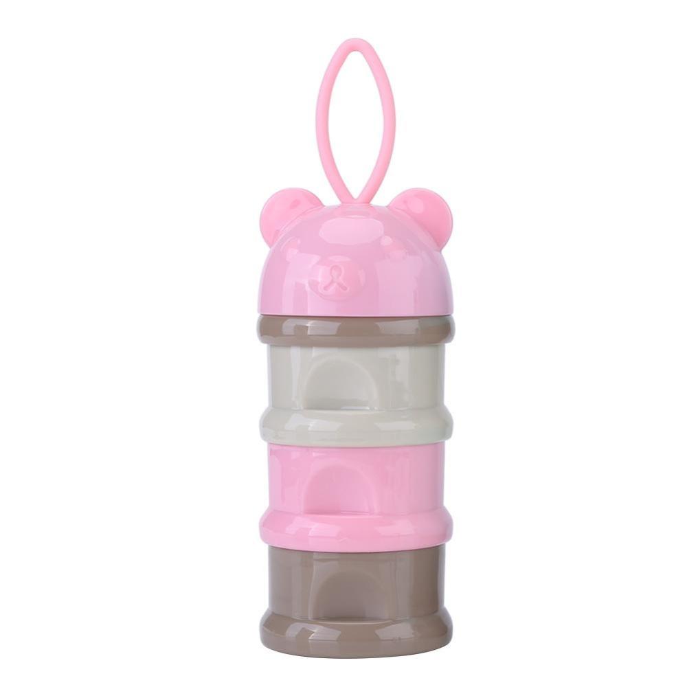 3 Layers Portable Infant Baby Milk Powder Formula Dispenser StorageBox Feeding Container Pink .