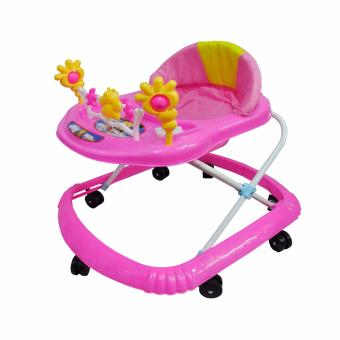 3 Levels Adjustable Folding Baby Walker Musical, Pink