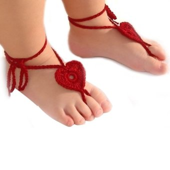 3 Pairs of Newborn Baby Infant Girls Handmade Knit Heart Shaped Barefoot Sandals Photograph Props (Red & Pink & Blue) - picture 2