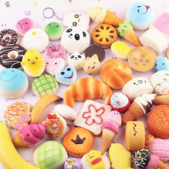 30 PCs cute squishy soft panda/bread/cake/buns phone straps