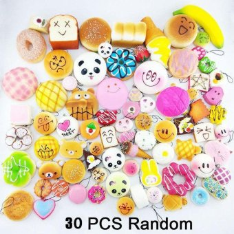 30Pcs Jumbo Medium Mini Random Squishy Soft Panda/Bread/Cake/BunsPhone Straps Multicolor - intl