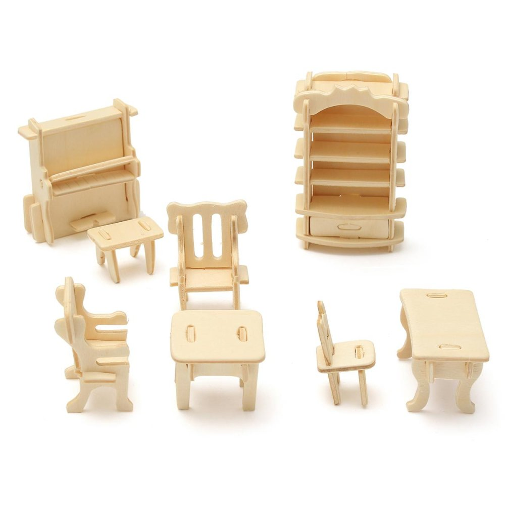 diy dollhouse furniture. 34Pcs 3D DIY Wooden Miniature Dollhouse Furniture Model Children Kids Play Toys - Intl Diy