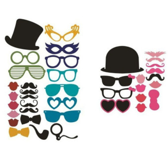 36Pcs DIY Christmas Party Photo Booth Props Mask Lip Mustache Glasses Fun