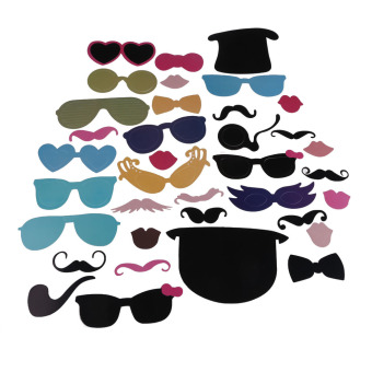 36Pcs DIY Christmas Party Photo Booth Props Mask Lip Mustache Glasses Fun - picture 2