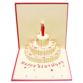 Buy latest 3d pop up greeting cards handmade gift for happy 3d pop up happy birthday cake design birthday party invitationcards greeting card with white envelope red negle Image collections