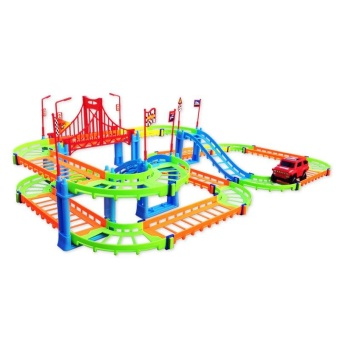 3D Two-layer Spiral Track Roller Coaster 74PCS Toy Electric RailCar for Child Kids Gift - intl - 2