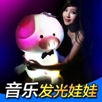 3pcs *Christmas gift pig rabbit doll bear Teddy music luminous pillow girlfriend birthday send romantic ideas - intl - picture 2