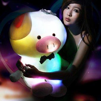 3pcs *Christmas gift pig rabbit doll bear Teddy music luminous pillow girlfriend birthday send romantic ideas - intl